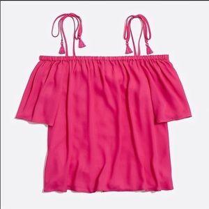 ❤️4/$25 J.CREW Hot Pink Could Shoulder Tassel Top